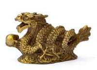 Wholesale Glossy Gift Bags - New Chinese Zodiac Fengshui Pure Brass Wealth Year Fu Running Dragon Statue