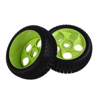 Wholesale Toy Car Rubber Tires - New 2PCS RC 1 8 Off-Road Car Buggy Rubber Tyres Tires Wheel Rims 86G-804 Car Tires Green