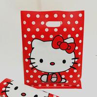 sacos plásticos da jóia da cor venda por atacado-100 pçs / lote 20 * 26 cm bonito OLÁ KITTY saco de plástico com alça de Jóias pequenas bolsas de Cor Vermelha
