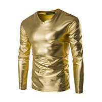 Wholesale Nightclub Drapes - Han edition T-shirt male v-neck pullovers nightclub dancing costumes hot gold silver shiny long sleeve T-shirt