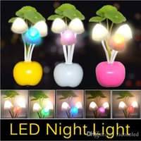 Wholesale Led Mushroom Dream Night Light - EU US Plug Lotus flower led mushroom dream night light 3 LEDs Nightlight bulb home decor LED RGB breathing Night lights