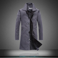 Wholesale Down Peacoat - Wholesale- New Fashion Brand Men's Clothing Jacket Wool Coat Men Single Breasted Turn Down Collar Slim Fit Peacoat Long Winter Men Coat z5