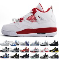 Wholesale Cheap Military Shoes - 2017 Cheap NEW retro 4 Basketball Shoes men retro 4s Pure Money Royalty White Cement Bred Military Blue Fire Red Sports Sneakers size 8-13