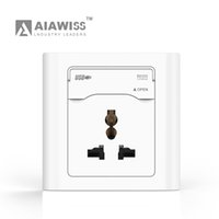 Wholesale Usb Door - AIAWISS EU UK UN Type 5V 2.4A Dual USB Wall Socket with protect door Universal, White