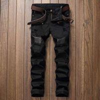 calça jeans para homens venda por atacado-Designer de moda Mens Rasgado Motociclista Calça Jeans Patchwork De Couro Slim Fit Preto Moto Denim Corredores Para Calças Jeans Masculinos Afligido