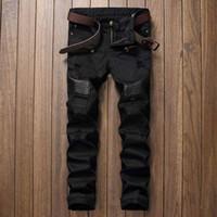 siyah denim sıkıntılı kot toptan satış-Moda Tasarımcısı Mens Ripped Biker Jeans Deri Patchwork Slim Fit Siyah Moto Denim Joggers Için Erkek Sıkıntılı Kot Pantolon