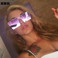 lunettes de soleil de célébrité achat en gros de-Gros-Mode luxe lunettes de soleil carrées femmes marque designer célébrités métal UNISEX mens lunettes de soleil surdimensionnées miroir lentille UV400 COOL