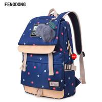 lona mochilas escola miúdos venda por atacado-Fengdong Bonito Lona Mochila Bookbags Mochilas Escolares Resistente À Água Mais Durável Saco de Escola para Meninas Adolescentes E Crianças