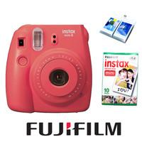Wholesale Photo Field - Wholesale-Fujifilm Fuji Instax Mini 8 Camera New Red Raspberry Color + 10 pcs Fujifilm Instax Mini 8 White Mini Films Photo Paper & Ablum
