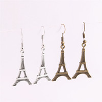 Wholesale Eiffel Tower Antique Bronze Pendants - 20pcs lot Metal Alloy Zinc Antique Bronze Silver Eiffel Tower Pendant Charm Drop Earing Diy Jewelry Making C0681