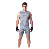 Wholesale Green Men Vest - Men 's body suit vest shorts basketball running training clothes elastic compression fast - drying sports tights suit