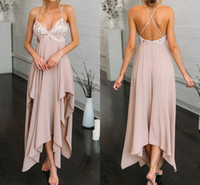 Wholesale Old Beaded Dresses - Old Pink Sexy Prom Dresses Girls 2017 Asymmetrical Criss Cross Straps Special Occasion Gowns Chiffon Crystals Cocktail Party Dresses