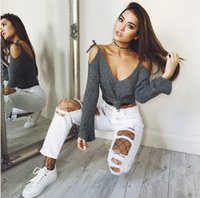 Wholesale Lace Ponchos - 2017082505 Sexy Women Sweaters Deep V Neck Pullover Off shoulder Lace Up Long Flare Sleeve Casual Tops poncho mujer invierno
