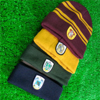 Wholesale blue yellow beanie - Harry School Gryffindor Slytherin Ravenclaw Hufflepuff Hat Badge Skull Cap Beanie Potter Fans Cosplay Christmas Gift Drop Shipping