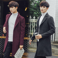 Wholesale Green Overcoat For Men - Wholesale- Overcoats for Men Teenagers 2016 Fashion New Soild Woolen Jackets Full Sleeve Winter Warm Pea Trench Topcoats Army Green