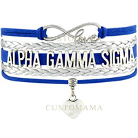 (10 PCS / Lot) Infinity Love Alpha Gamma Sigma Heart Charm Bracelete para mulheres Silver Blue Suede Leather Custom Any Themes