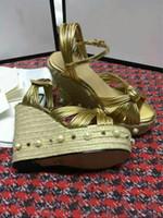 Wholesale Peep Toe Ankle Wedge - 2017 new Luxury Brand Genuine Leather Women Wedge Sandals High Heels Platform Rope Heels 12cm Shoes Women Open Heels Peep Toe Ankle Strap