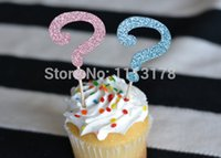 Großhandel- billig Gender Reveal Glitzer Cupcake Toppers: Baby Shower / Gender Reveal Baby Dusche Cupcake Dekor Toppers