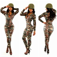 Wholesale Green Camouflage Women Deep V Neck Long Sleeve Bodycon Jumpsuits Rompers