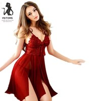 Wholesale V String Ladies - Wholesale- Feitong Sexy Thongs Gauze Lace pijama Nightie Sleepwear for Women Ladies With G-string black Lingerie Nightgown Ropa Mujer