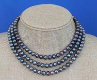 suéteres de perlas negro al por mayor-Joyas de perlas finas 48 pulgadas de largo 8-9mm Pavo real negro casi redondo Collar de cuerda de perlas cadena de suéter