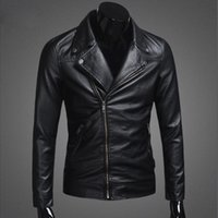 Wholesale Leather Splice Short Sleeve - THOOO Brand 2017 New Mens PU Leather Jackets Zipper Locomotive Jacket Faux Leather Slim Short Designer Turndown Collar Outwear for Men