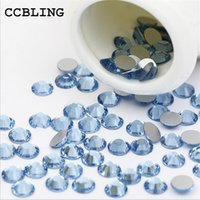 CCBLING Crystal Light Sapphire ss3-ss30 strass clous Flat Back non Hotfix Glitter clou des pierres, bricolage 3d Nail Phones Décorations