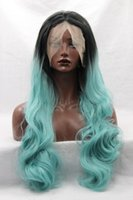 Wholesale Two Toned Blue Lace Wig - Long Black Blue Wig Two Tone Natural Wavy Black Ombre Blue To Blonde Tips Synthetic Lace Front Wig Glueless Heat Resistant Women Wig