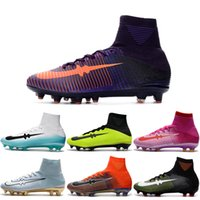 Drop Shipping Wholesale Football Shoes Men Mercurial Superfly V FG Soccer Boots 2017 New Outdoor High-quality Men's Sports Shoes Tamanho 6.5-11