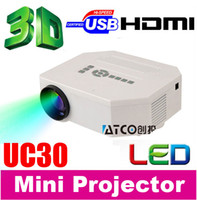 Grossiste-Big discount UC30 1000: 1 1080P HD Home Cinéma 3D Cinema HDMI USB Digital multimédia LCD LED Mini projecteur projetor best sale