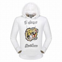 Wholesale Women Jumper Tiger Print - Sporting L'Aveugle Par Amour Tiger Printed Men Jumper Hoodies with Hat Casual Jacket Women Hooded Sweatshirts Coats Blend White