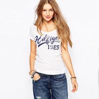 sokak tarzı kadın giyim toptan satış-Sokak Moda Yaz Mektup Baskı Kadın T-Shirt Temel Tarzı Kısa Kollu Ince T Gömlek Casual Kadın Giyim