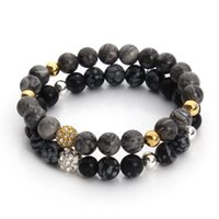 Wholesale Wholesale Gold Disco Ball - Wholesale-New Natural Picasso Alabaster Black Agate Stone Bead Bracelet with Crystal Disco Ball Elastic Rope Chain Mala Bracelets F3247