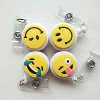 Wholesale pvc name card - 4pcs Cute Cartoon Smile Face Good Quality Retractable Badge Reel Student Nurse Exihibiton ID Name Card Badge Holder Office