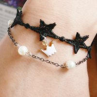 Perles Crown Clover Flower Charm Bracelets Fashion Hollow Black Leaves Star Chaussures en dentelle Bracelet Elegant Fine Jewelry For Women