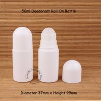 Wholesale Travel Roll Bottle - 50ml white Plastic Roll On Bottle - Travel Refillable Deodorant Roll-on Containers -DIY Essential oil & personal Packing Bottles