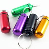keychain medizinischer behälter großhandel-Wasserdichte Aluminium Medizin Pille Box Fall Flaschenhalter Schlüsselbund Container Mix Farben
