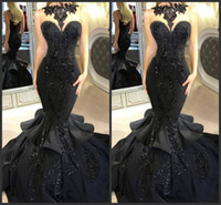 Wholesale royal blue stunning dresses - 2018 New Stunning Black Long Evening Dresses Beaded Appliqued Cascading Ruffled Mermaid Court Train Backless Formal Party Prom Gowns 082