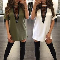 Wholesale vintage army dress - Sexy Dresses for Women Clothes Fashion 2017 Long Sleeve Autumn Casual Loose V Neck T-Shirt Plus Size Dress