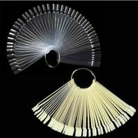 Wholesale Uv Gels Shop - wholesale 50PCS False Nail Tips Fan shaped Fake Nail Art Tips Polish UV Gel Sticker Clear Gel Salon Tool free shopping