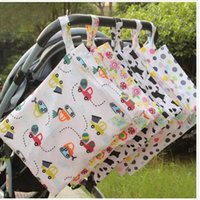 Wholesale Infant Double Stroller - Baby Diaper Bags Diaper Organizer Tote Infant Stroller Hang Bags Printed Reusable Diapering Bags Waterproof Newborn Double Zipper Cloth J247