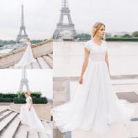 Wholesale Chapel Train Chiffon Wedding Dresses - Hot Short Sleeve Beach Wedding Dresses Lace Chiffon Wedding Gowns 2017 Chapel Train Bridal Wedding Gowns