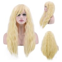 Wholesale Long Glamorous Wigs - Top Quality Stylish Long Wavy Wig women Glamorous Cosplay Party Wig Heat Resistant golden Full Hair Long Curly Wig