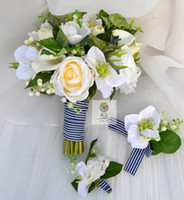 Handmade White Silver Lotus Tulip Rose Navy Blue Blossom Hand Holding Bouquet Wedding Photography Props Bride Handholding Flower