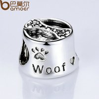 Wholesale Pandora Baby Charms - Pandora Style Free Ship Vintage Silver Color Cute Dog Footprint & Bone European Baby Charms for Beads Bracelet DIY Accessories