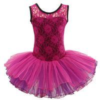Wholesale Girl Dress Lace Overlay - Girls' Floral Lace Overlay Ballet Tutu Dance Costume Leotard Fairy Dress