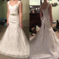 Wholesale Elgant Gowns - Mermaid Lace Wedding Dresses 2016 V-Neck Backless Appliqus Sashes Elgant Lace Up Bridal Gowns Cheap Custom Made Free Shipping