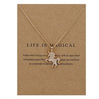 10PCS Fairy Tale Unicorn Collier Animal Gold / Silver Unicorn Pendentif Pendentif Collier Jewelry Wish Card Gift for Women