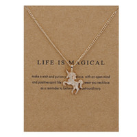 Wholesale Fairy Tales Jewelry - 10PCS Fairy Tale Unicorn Necklace Animal Gold Silver Unicorn Pendant Chain Necklace Jewelry Wish Card Gift for Women