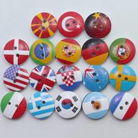 Wholesale Craft Wood Buttons Bulk - Wholesale Bulk Mixed National Flag Wood Button 2 Holes Sewing Accessories Decorative Buttons Scrapbooking Handmade Craft DIY